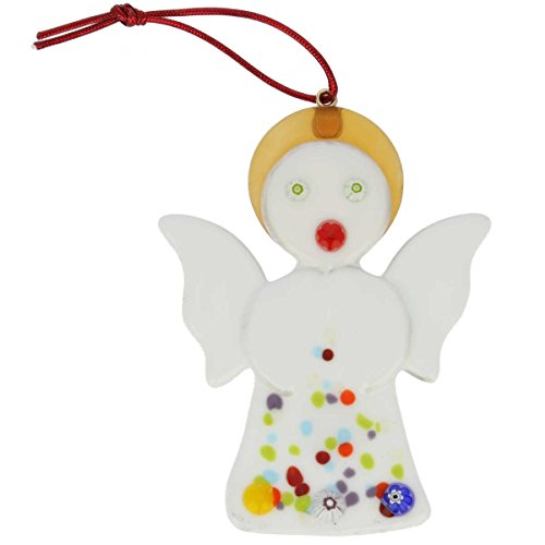 (GlassOfVenice Murano Glass Angel Christmas Ornament - White)