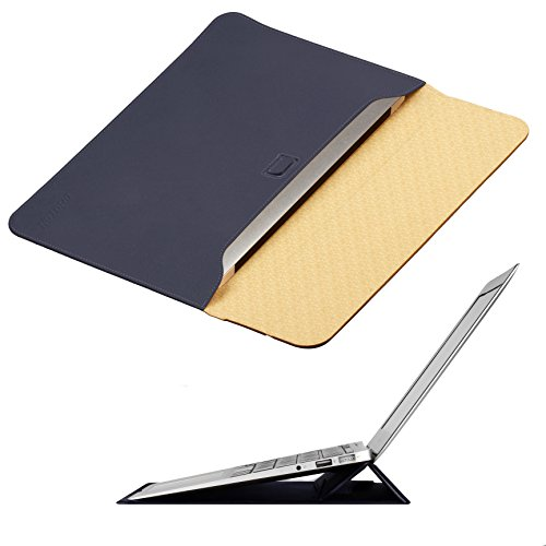 MacBook Air 13 inch Case Sleeve with Stand, OMOTON Wallet Sleeve Case for MacBook Air 13 inch (2017 Version), Ultrathin Carrying Bag with Stand, Navy Blue