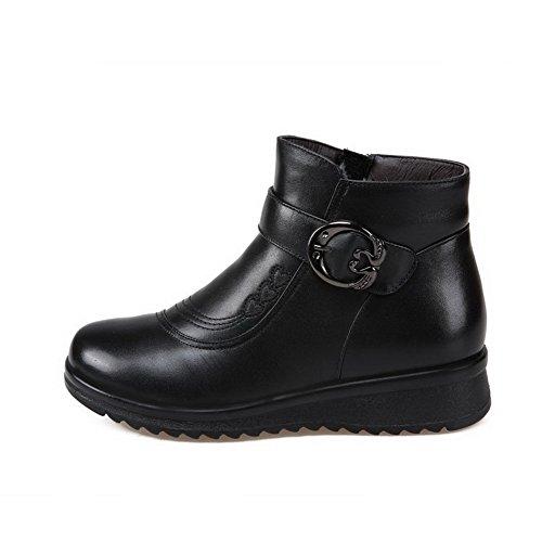 mujer Materials de de goma materiales Mezcla zapato de Botas Blend suela Allhqfashion Negro con bajo de tacón para wHZYqIxpF
