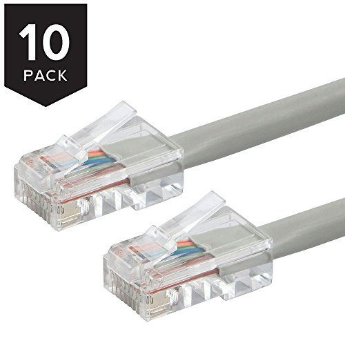1' Cat6 Booted Cable - Buhbo 1Ft Cat6 UTP Ethernet Network Non Booted Cable (10-Pack), Gray