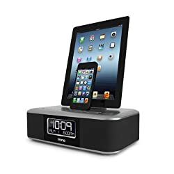 iHome iDL45 Dual Charging Stereo FM Clock Radio with Lightning Dock and USB Charge/Play for iPhone/iPod/iPad (30 Pin (Older Model))