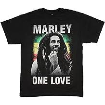 Bob Marley T-Shirt Mens One Love Reggae Rasta Black Cotton Tee