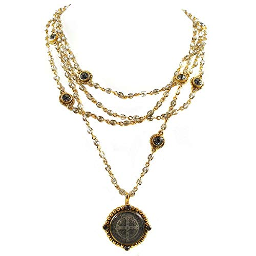 VSA - Virgins Saints and Angels VSA San Benito Magdalena Necklace in Gold with Black Diamond
