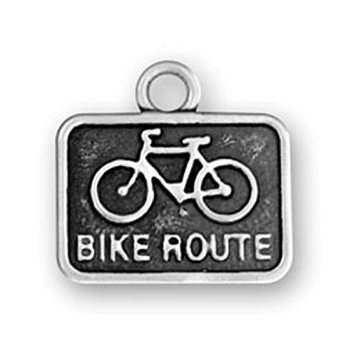 Bike Route Sign Charm (Sterling Silver 3D BIKE ROUTE Sign Word Dangle Charm Bead For Bead Charm Bracelet)