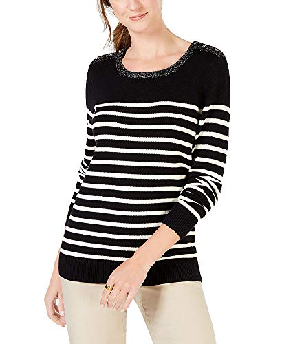 Charter Club Colorblocked Cable-Knit Sweater (Black Stripe Combo, ()