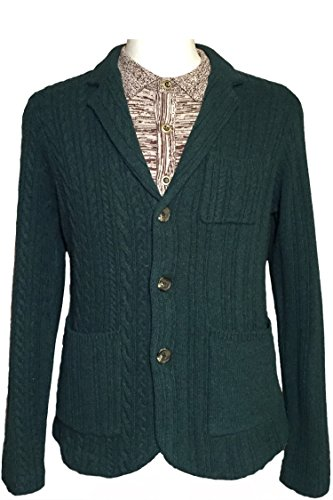 REVOLUTION NOW Men's Knitted Varieted Cable Lambswool Jacket Sweater
