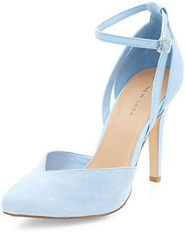 Womens Pale Blue Ankle Strap Pointed