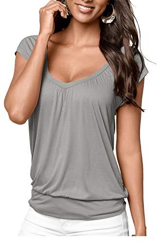 Jusfitsu Flattering Tops for Women Comfy Tunic Ruffled Blouses Grey XL ()