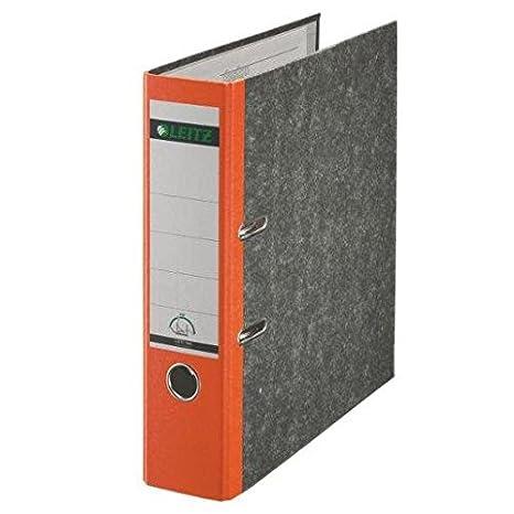 Leitz - Juego de 5 archivadores de palanca mármol méc. 180 grados A4 lomo 80 mm naranja: Amazon.es: Oficina y papelería