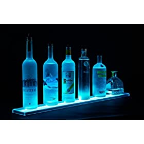 Armana Productions 3′ LED Liquor Bottle Shelf – Made in the U.S.A. LED Lighted Liquor Bottle Shelf Home Bar Lighting