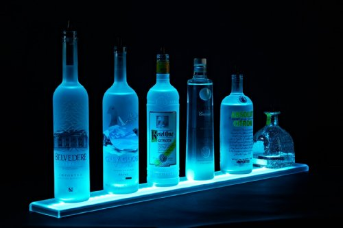 Armana Productions 3' LED Liquor Bottle Shelf - Made in the U.S.A. LED Lighted Liquor Bottle Shelf Home Bar Lighting