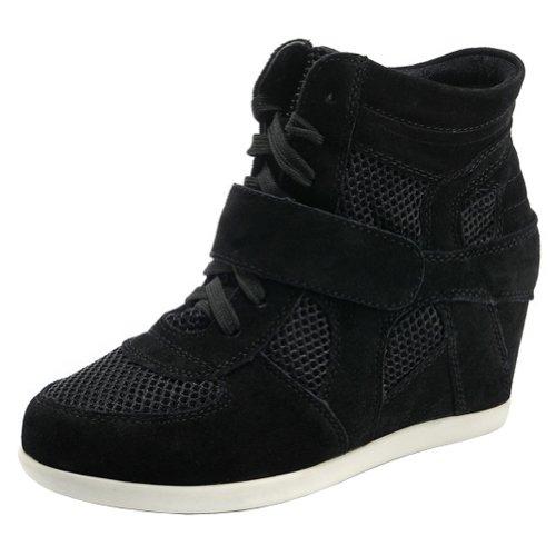 Generice Women's Wedge Hidden Heel Cute Nylon&Suede Fashion Sneakers 8522-2(Black,US8) ()