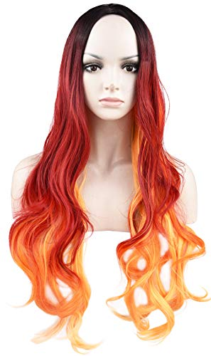 SEIKEA Colored Ombre Wig for Women Long Wavy Hair Heat Friendly Girl Cosplay Costume Side Parting with Root- Black Red -