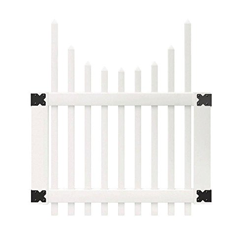 4 ft. x 3-1/2 ft. Chatham Scalloped Top Spaced Picket Vinyl Unassembled Fence Gate (Fencing Vinyl Scalloped)