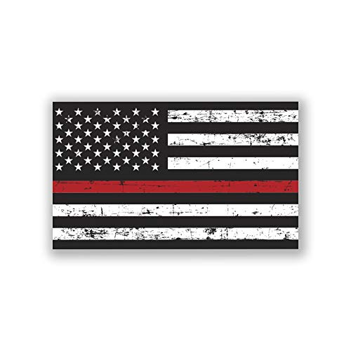 (Thin Red Line Distressed Flag 2-Pack Decal Sticker   5-Inches by 3-Inches   Premium Quality Vinyl   UV Resistant Laminate   PD890)