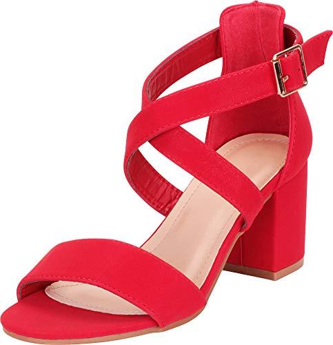 (Cambridge Select Women's Crisscross Strappy Chunky Block Mid Heel Sandal,6.5 B(M) US,Red NBPU)