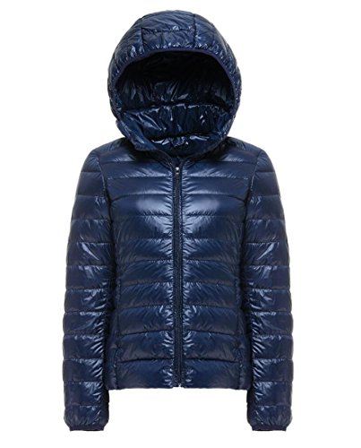 Women's Lightweight Packable Hooded Down Jacket Puffer Coat Dark Navy 2XL (Tag)
