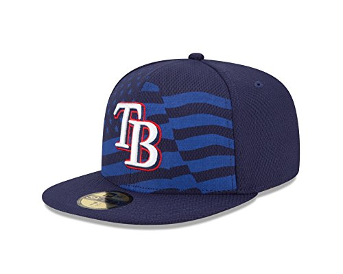 MLB Tampa Bay Rays 2015 AC July 4th Stars and Stripes 59FIFTY Fitted Cap, Blue, 7 1/4