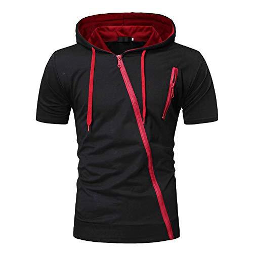 MILIMIEYIK Summer Clothing Men's Gym Fitness Mesh Hoodie Sleeveless T-Shirt Muscle Tank Top Black ()