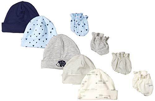 Gerber Baby Boys' 9-Piece Cap and Mitten Bundle, Hedgehog, Newborn