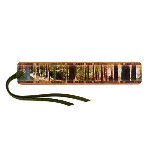 Mitercraft Panoramic Forest Hiker in Color Wooden Bookmark with Tassel Search B06ZYGZNQY for Personalized Version