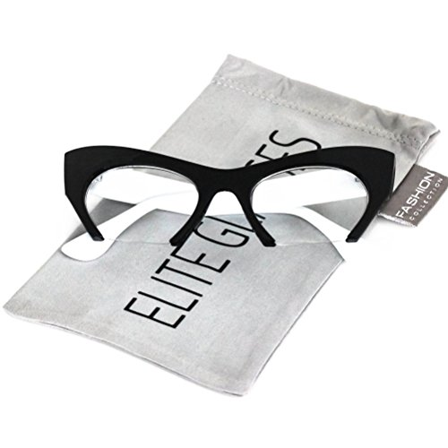 Cat Eye Eyeglasses Women Retro Vintage Razor Clear Lens Style Half Cut Off Frame (Black White, 2)