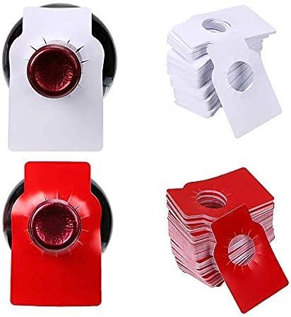 PVC Etiquetas Vinos,Qiudnar 300 Pcs Etiquetas Botellas Vino Etiquetas Blancas Etiquetas Papel Pequeñas para Botelleros y Organizador de Bodega (Rojo,Blanco)