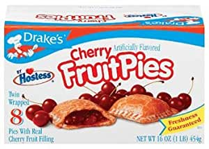 Drake's by Hostess 8 ct Cherry Fruit Pies 16 oz (Pack of 6)