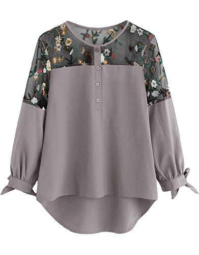 Milumia Women's Floral Embroidered Lace Panel Tie Cuff High Low Blouse Top Medium Grey
