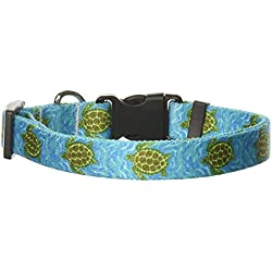 "Yellow Dog Design Sea Turtles Dog Collar with Tag-A-Long ID Tag System-Medium-3/4"" and fits Neck 14 to 20""/4"""