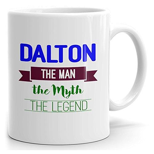Dalton on cup - The Man The Myth The Legend - Ceramic Cup for Coffee, Tea & Chocolate - 15oz White Mug - Blue 2