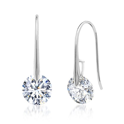 Crystal Hook Drop Earring (Silver)