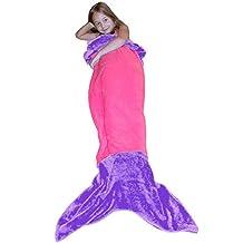 Dressyday Kids Mermaid Blanket Flannel Tail Blanket Bed Sleeping Bags