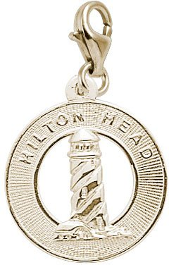 Rembrandt Charms Hilton Head Lighthouse Charm with Lobster Clasp, 14k Yellow Gold