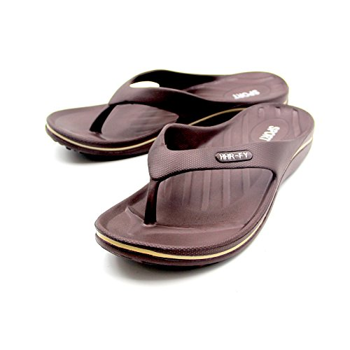 EASTPOLE Flip Flops, Mens Women Sandals Black Brown Slipper Shoes with Toe Post Textured Brown