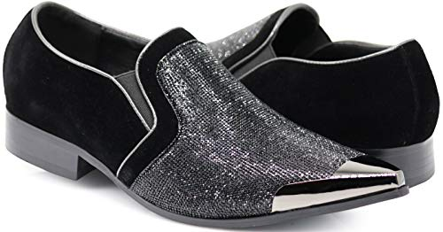 (Enzo Romeo Crisiano Men Rhinestone Chrome Toe Suede Pointy Dress Loafer Slip On Shoes (8.5 D(M) US, Black))