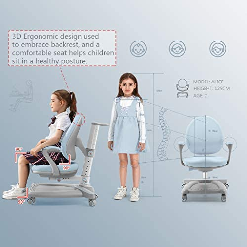 Ergonomic Kids Desk Chair, Child Student Study Computer Office Chair, Adjustable Height And Depth, W/Sit-Brake Casters Footrest Armrest, No-Swivel Type (Pink)