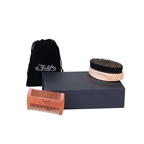 TRLIFE Beard Brush and Comb Set Kit for Men Boar Bristles Beard with Thick & Thin Teeth Grooming Handmade Peach Wood Pocket Beard Brush and Mustache for Shaving Styling With Gift Box and Carrying Bag