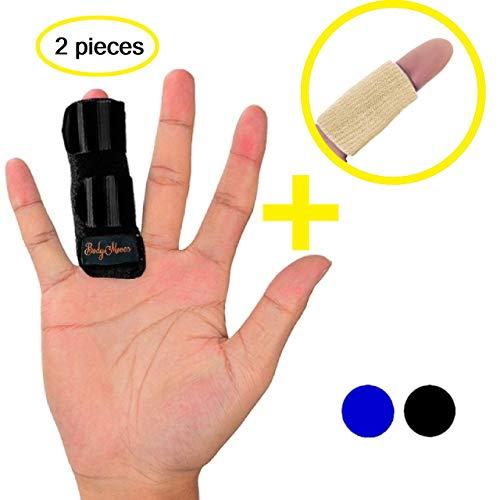 BodyMoves Midnight Black Finger Splint Plus Desert Sand Sleeve Trigger Finger (2 pc Set)