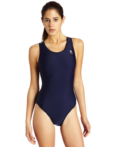 TYR Sport Women's Solid Maxback Swim Suit (Navy, 42)