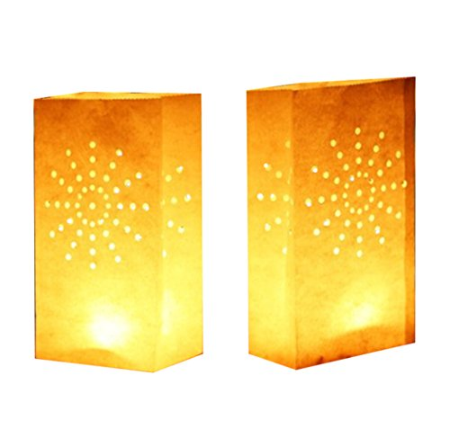 24 Pack Luminary Bags - Sunburst Design Candle Bags - Flame Resistant Light Holder - Candleholders Decorations for Wedding, Halloween, Birthday, New Year, Party and Event Occasion - White (Sunburst)]()