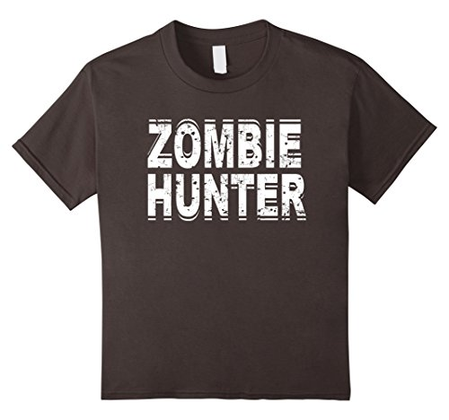 Kids Zombie Hunter T Shirt Scary Halloween Costume 12 Asphalt - Make A Zombie Hunter Costume