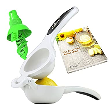 Premium Enameled Aluminum Double Bowl Lemon Squeezer Bundle, Professional Manual Citrus Juicer with a Quality Sprayer