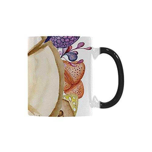 - Succulent Utility Morphing Mug,Wood Slice Tree Trunk with Cactus Plants Hand Painted Watercolor Style Artwork Decorative for Home,10.3OZ