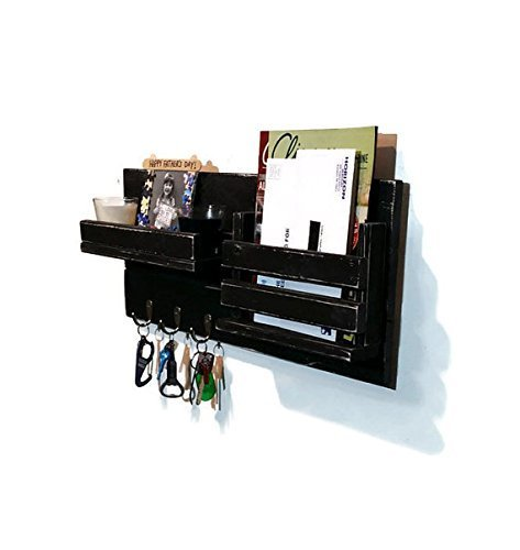 Renewed Décor Farmhouse Rustic Mail Organizer featuring 3 Key Hooks and a shelf on the left, available in 19 Colors