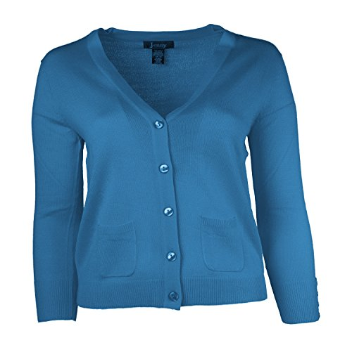 Jenny Petite Women's Cardigan V Neck Sweater Turquoise Size Large (One Button Petite Sweater)