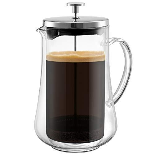 Glass French Press Coffee Maker | Unique Double Wall Design Brewer – Keeps Hot and Cold Longer | 4 Level Filtration System Heat Resistant Borosilicate Durable Glass | Great Gift Idea!