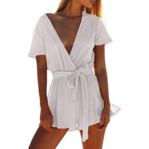 (AHAYAKU Women's Self Tie Causal Ribbed V-Neck Solid Wrap Jumpsuit Romper Gray)