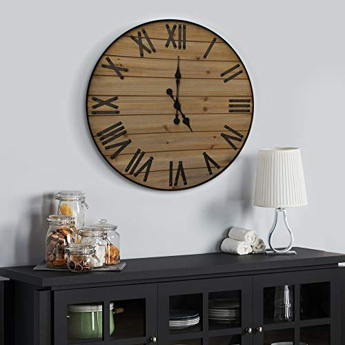 24 inch Rustic Wall Clock | Handmade Large Clock | Real Wood Clock, Beautiful Decorative Wall Clock Large | Oversized… 2