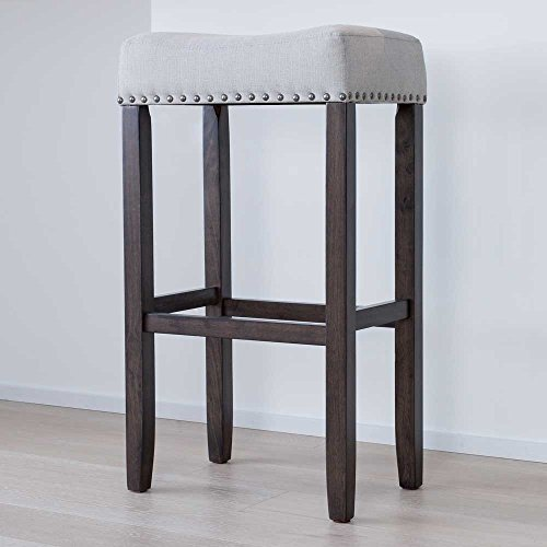 Nathan Home 21402 Hylie Nailhead Wood Pub-Height Bar Stool, 29